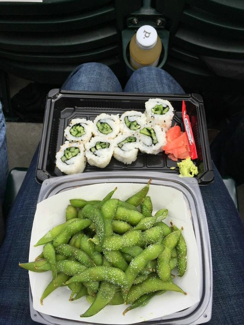 Hiroshi's cucumber roll and edamame