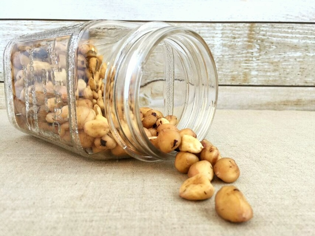 Jar of hazelnuts