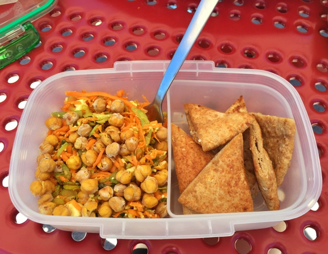 Chickpea salad and pitas bento lunch