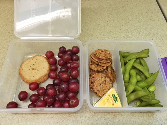 Edamame, grapes, crackers, cheese, shortbread cookie bento lunch