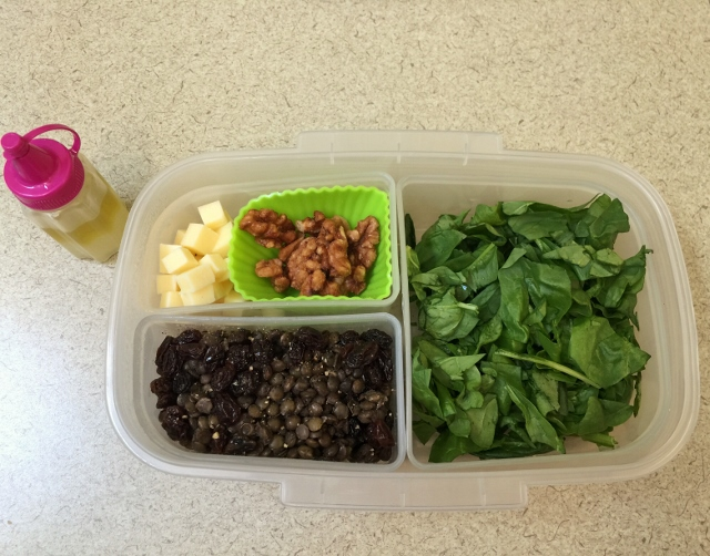 Lentil, raisin, spinach, candied walnut, white cheddar salad bento lunch