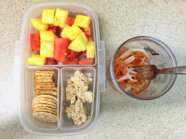 Watermelon, pineapple, crackers, feta spread, pickled carrots bento lunch