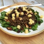 Spinach and lentil salad with lemon vinaigrette, white cheddar and raisins