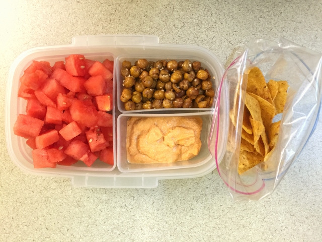 Watermelon, roasted chickpeas, hummus, tortilla chips bento lunch