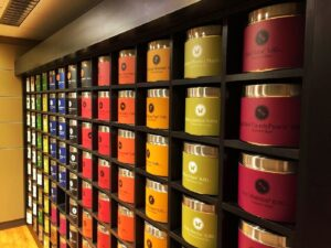 Wall filled with colorful tea tins