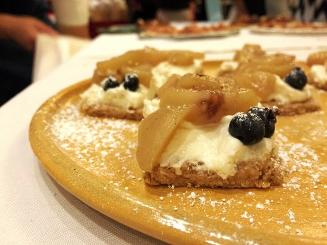Lark's white peach, blueberry, and mascarpone tart