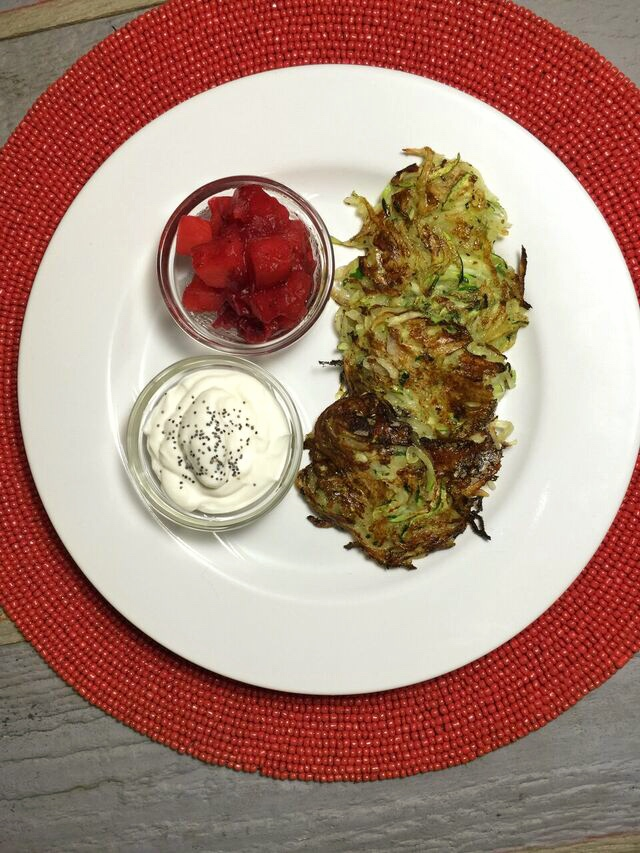 Purple Carrot Potato Zucchini Latkes