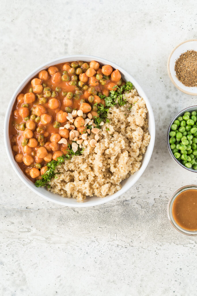 Top down view of a bowl of quinoa and garbanzo beans