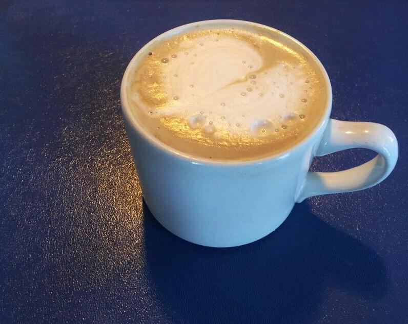 Decaf vanilla soy latte