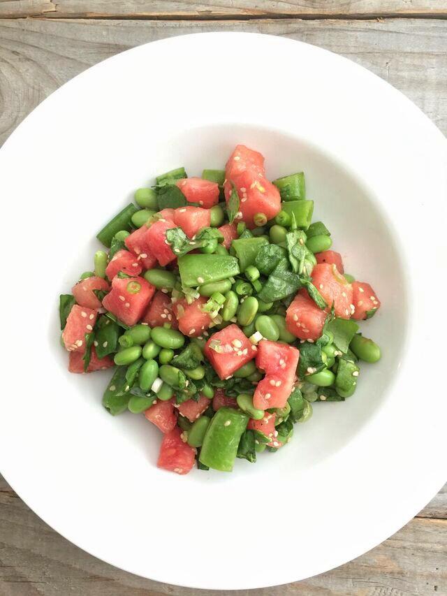 Snap Pea, Watermelon, and Edamame Salad with Sesame Vinaigrette