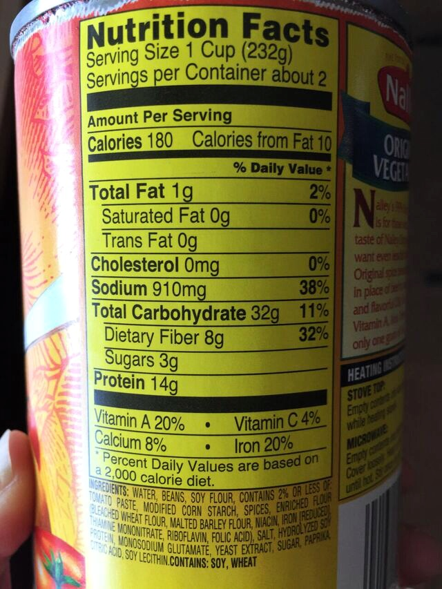 high sodium label