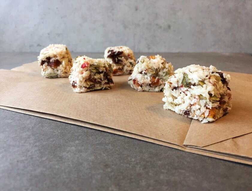 soft and fruity coconut bites side