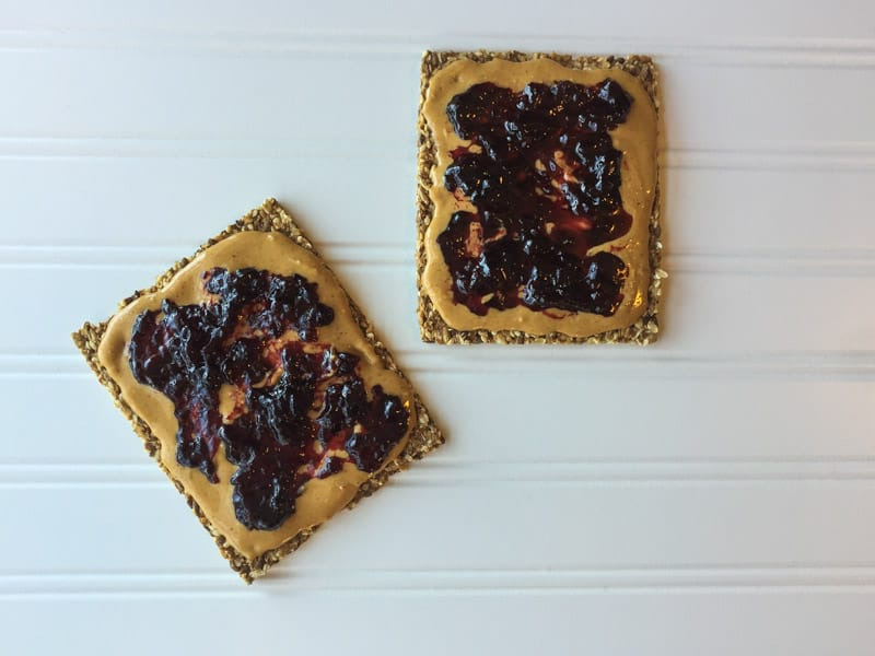 Trader Joes Whole Grain Crisp Bread with pb and j
