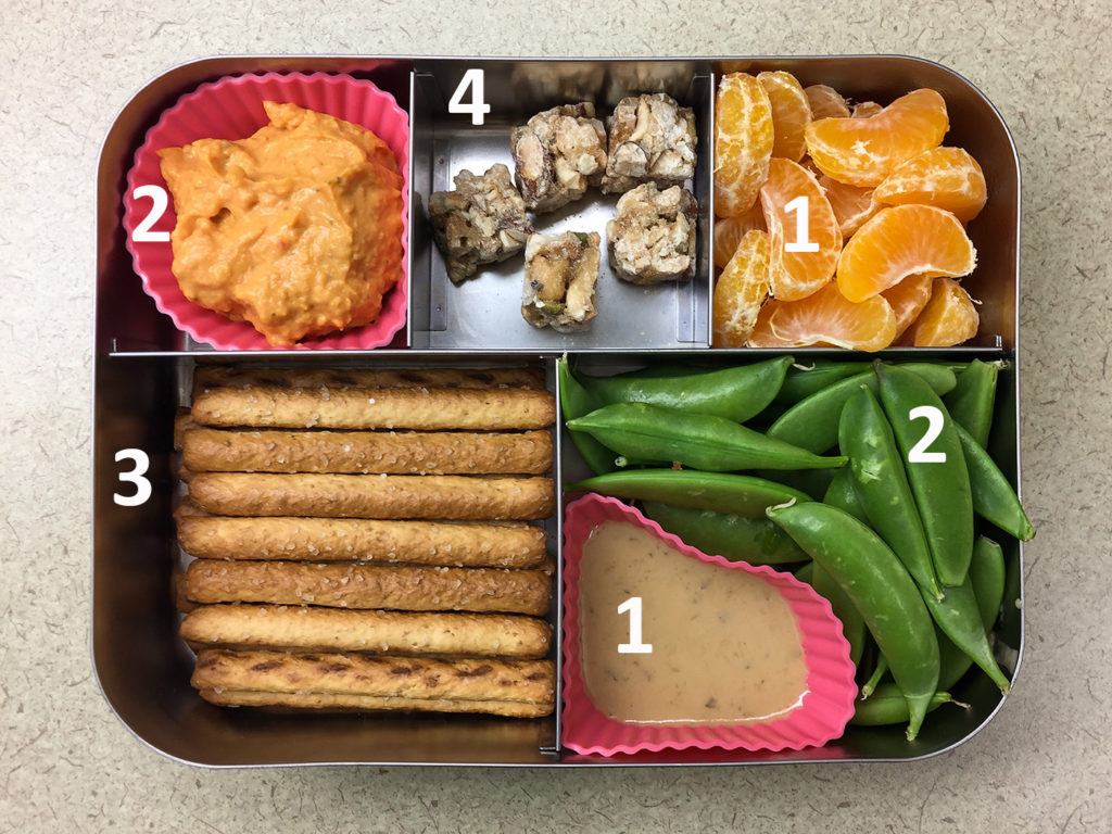 Pretzels and peas bento with protein values