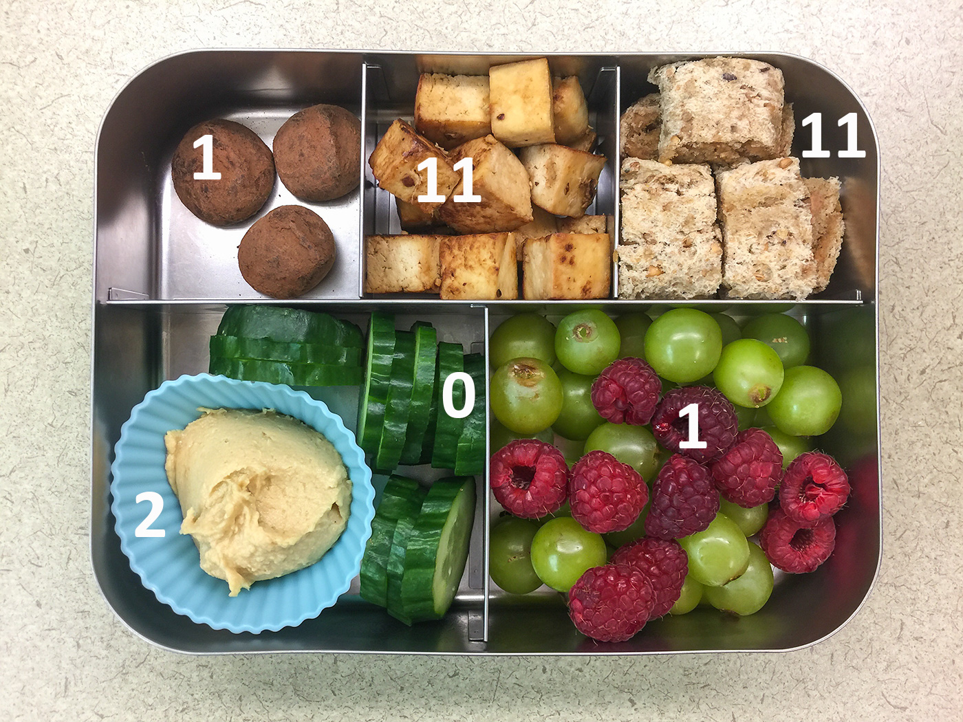 Tofu Bento with Protein Values