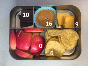 Chips and cheese bento with fat grams