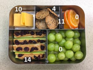 Fire Ants on a Log Bento with fat grams