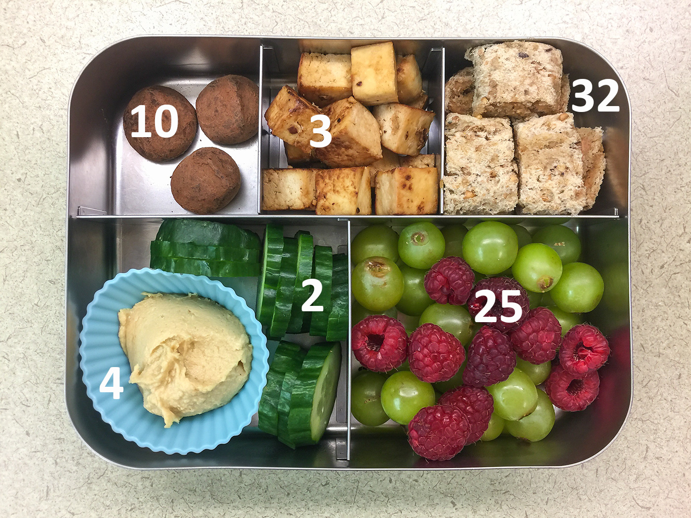 Finger food bento with tofu with carbohydrate