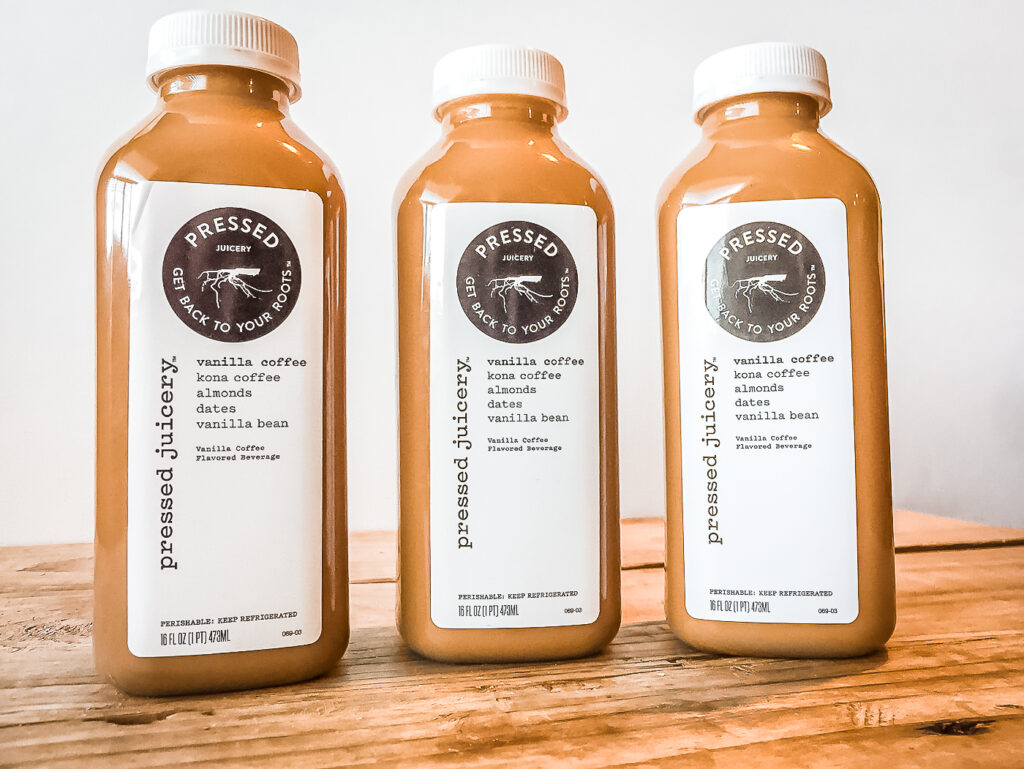 3 bottles of Pressed Juicery Vanilla Coffee