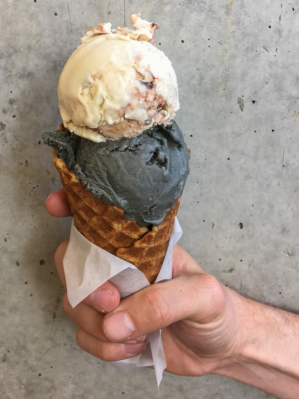 Tahini Chocolate and Salted Caramel Ash ice cream