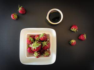 Fresh strawberries and dark chocolate balsamic vinegar