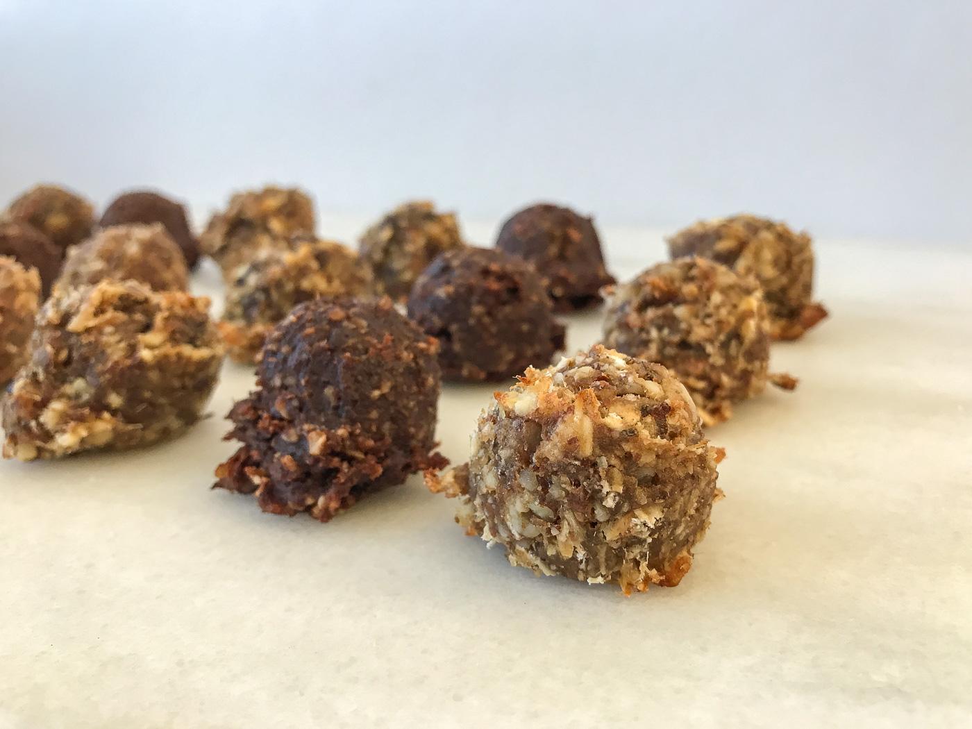 A close up of 9 nutrition bar dough balls