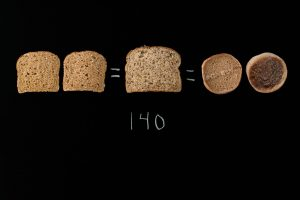 3 slices of bread and one English muffin on black background with 140 written below them