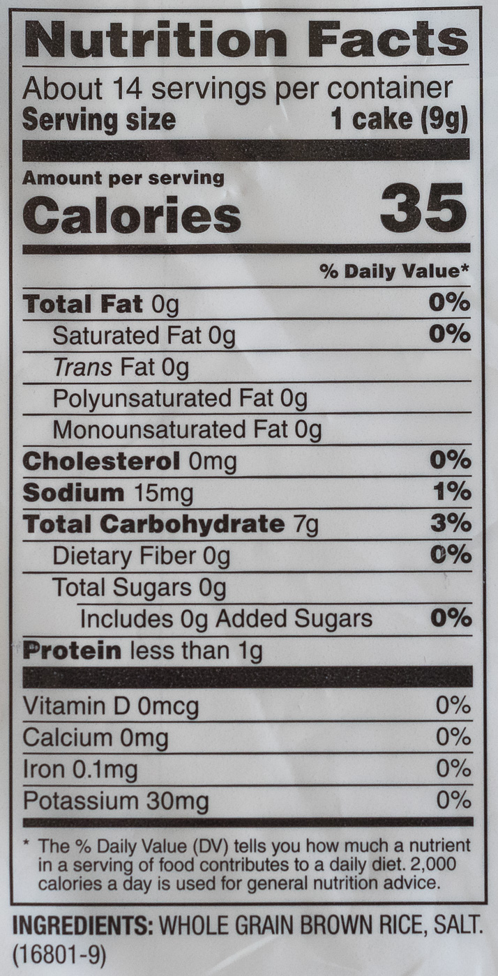 Nutrition facts label in new format for rice cakes