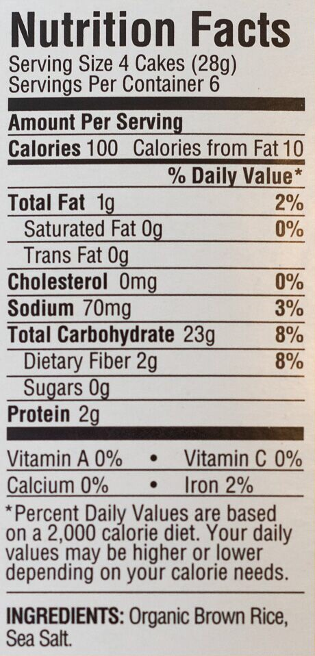 Nutrition facts label for rice cakes