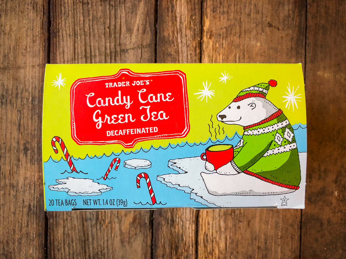 Box of Trader Joe's Candy Cane Green Tea tea bags