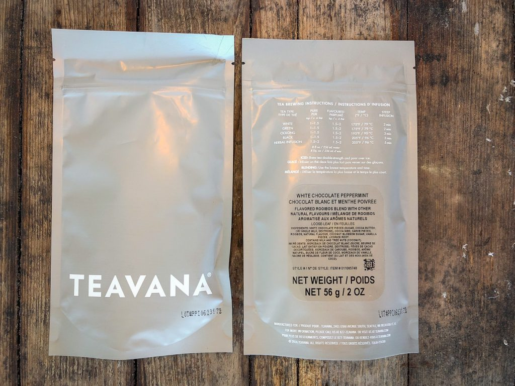 2 bags of Teavana White Chocolate Peppermint Tea