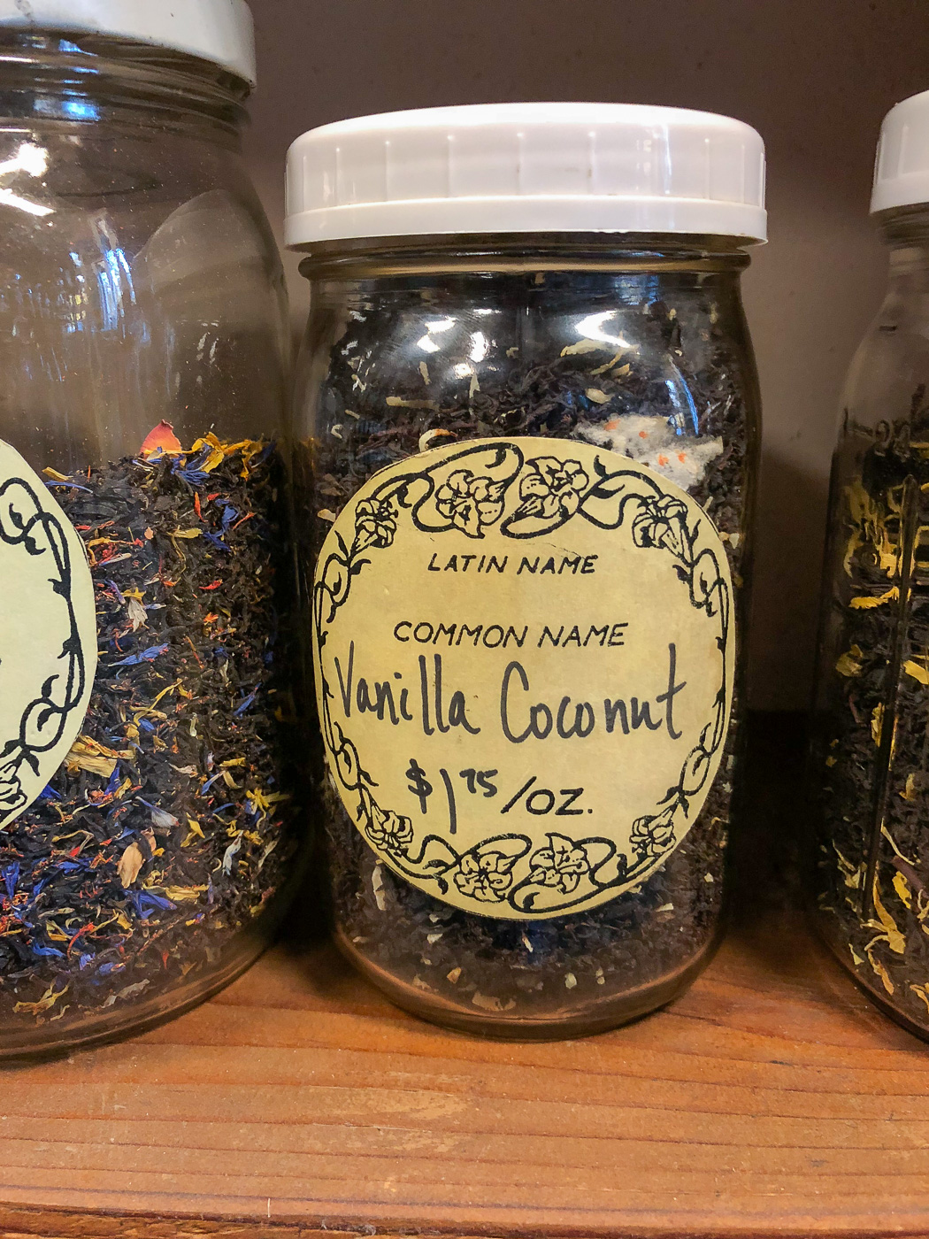 Loose Vanilla Coconut Tea in a jar