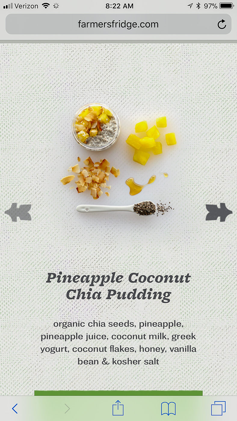 Display from Farmers Fridge vending machine of Pineapple Coconut Chia Pudding ingredients