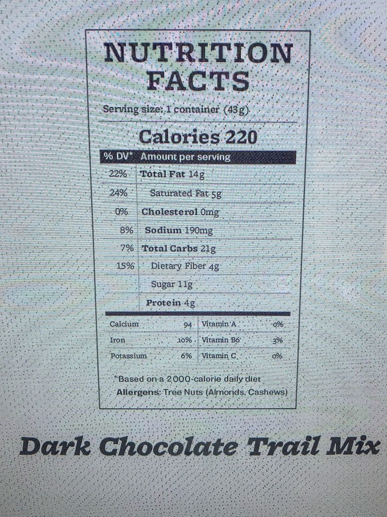 Farmers Fridge Trailmix Nutrition Label