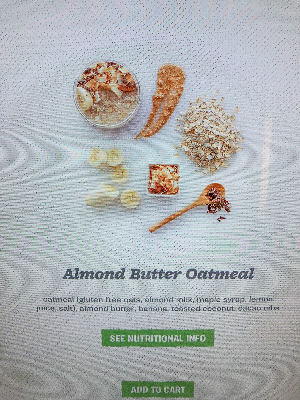Farmers Fridge Almond Butter Oatmeal Ingredients