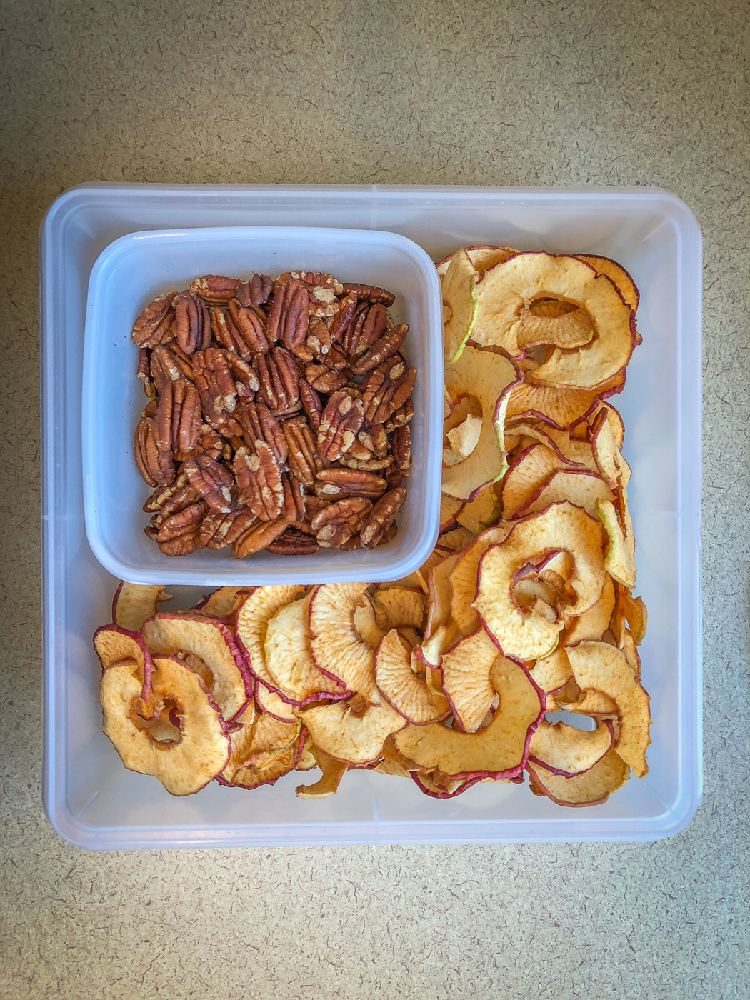 Plastic container with toasted pecans and apple chips