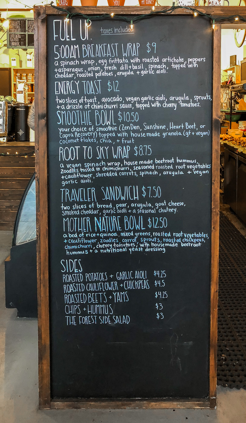 Tall chalkboard with Fuel + Forest Menu