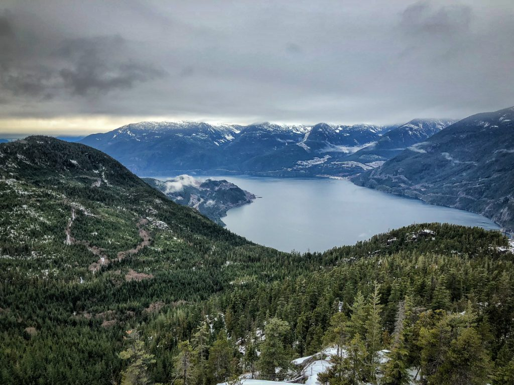 View of Howe Sound surrounded by mountains and trees