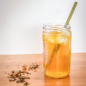 Glass of iced tea with bamboo straw