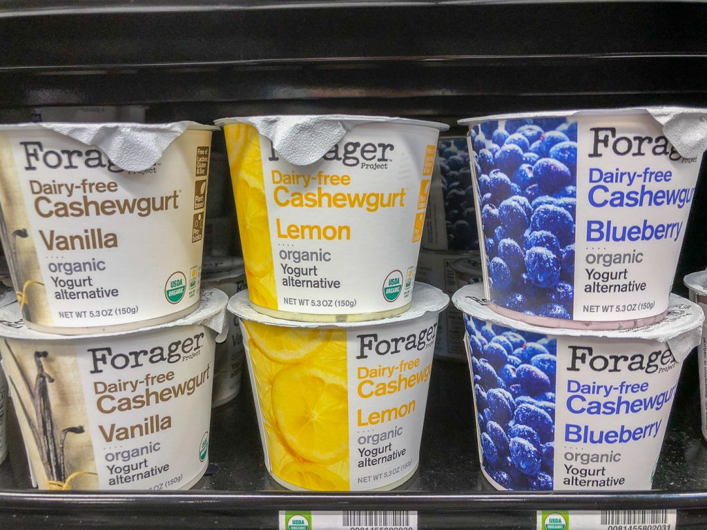 Stacked cartons of cashew milk yogurt