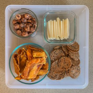 Plastic container with cheese, crackers, nuts and dried fruit