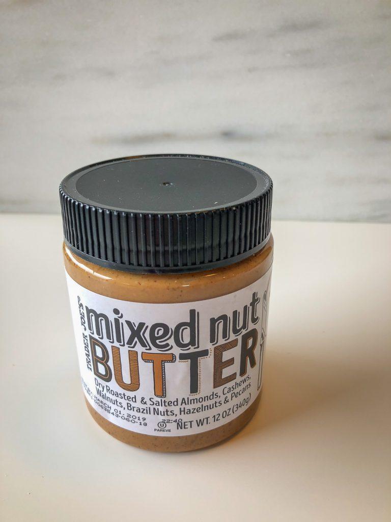 A jar of mixed nut butter