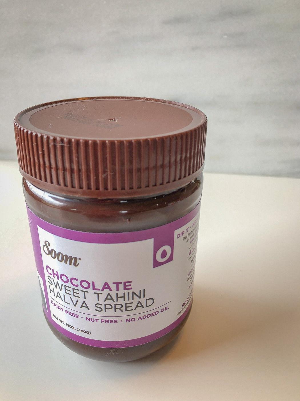 Jar of chocolate tahini spread