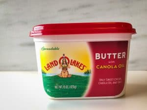 Tub of soft butter