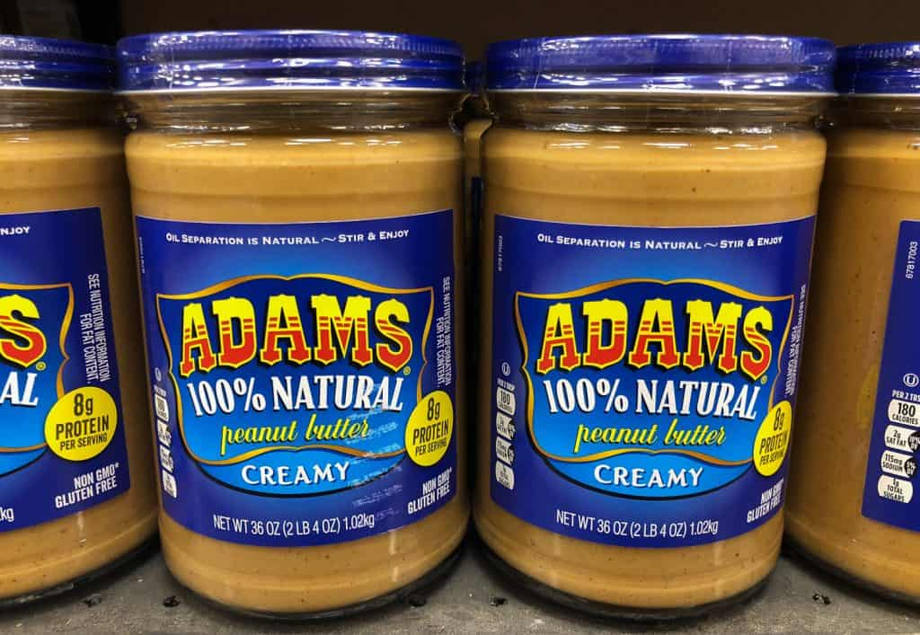 Two jars of Adam's Natural Peanut Butter