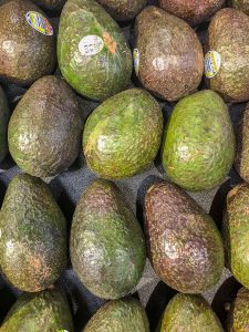 Top down picture of avocados in the produce department