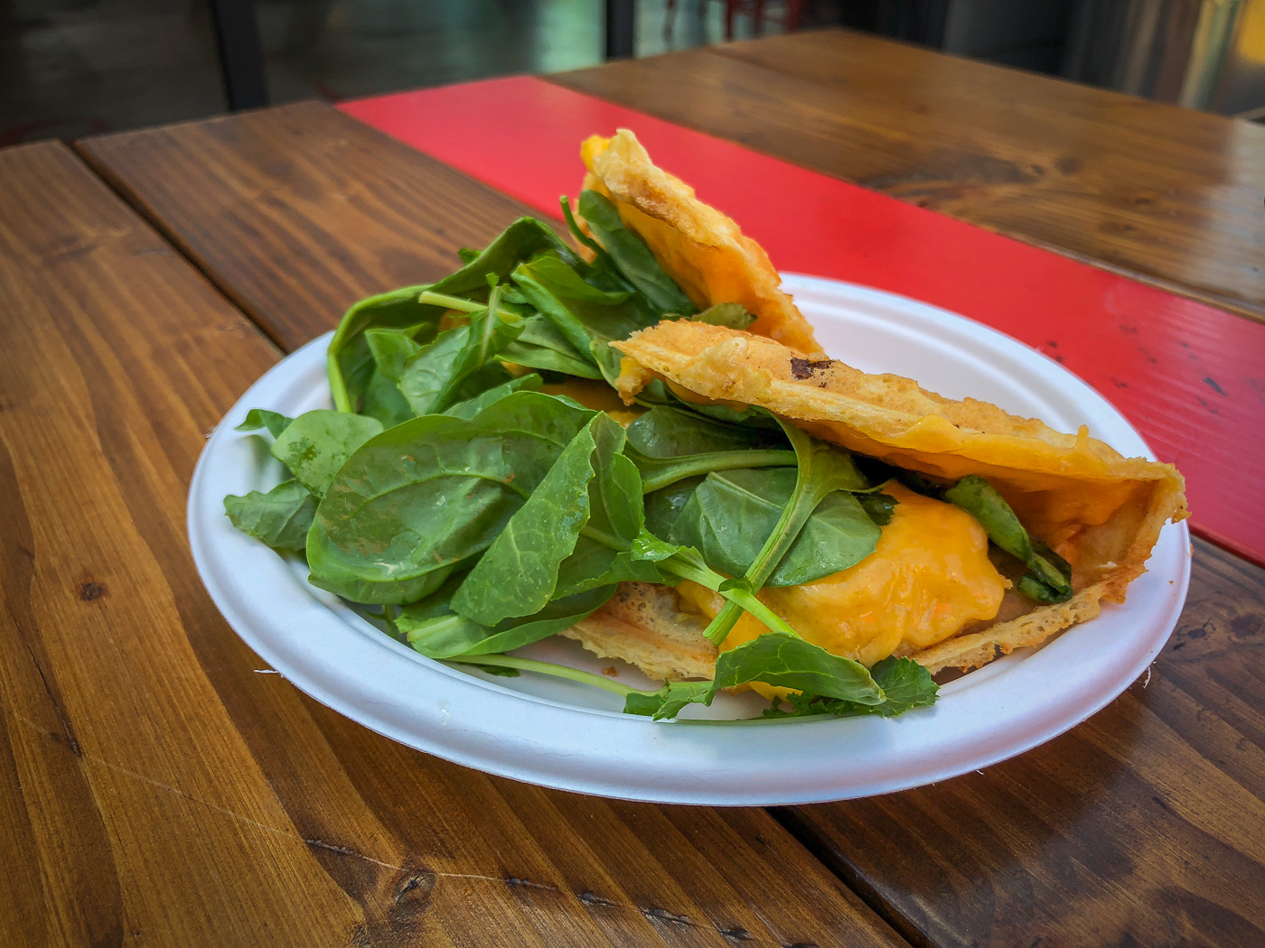 Waffle filled with tofu, cheese and spinach