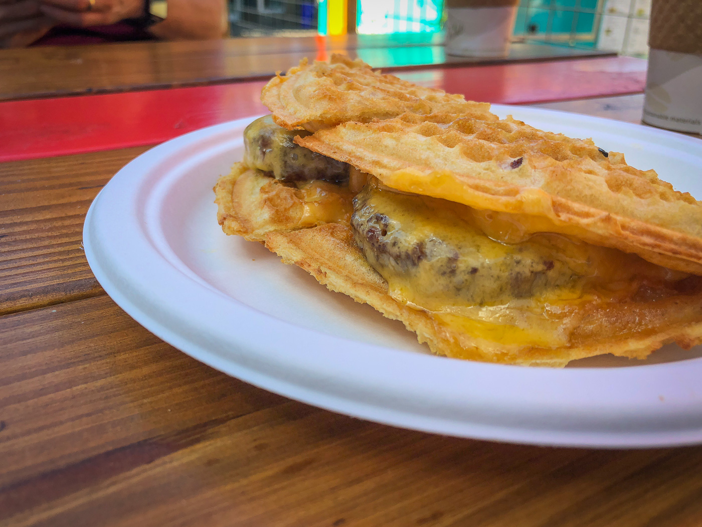 Waffle with vegetarian sausage and cheese