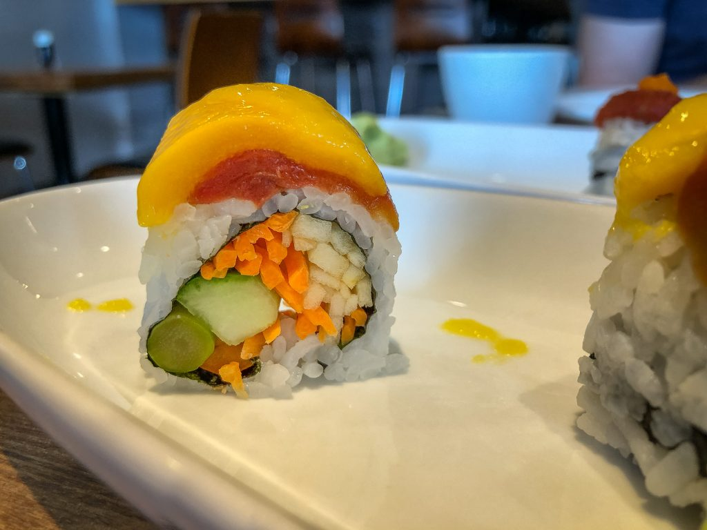 A single sushi roll close up