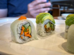 Close up of two sushi rolls
